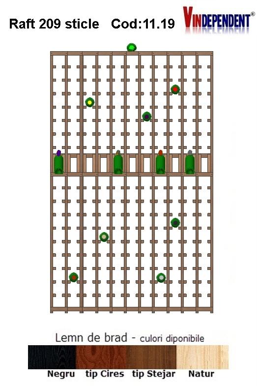 Raft din lemn tip display pentru 209 sticle