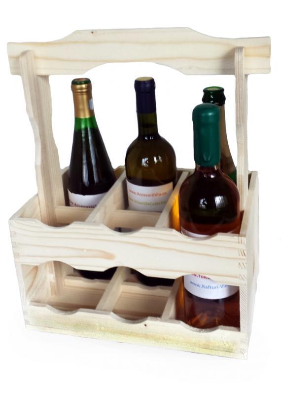 Suport din lemn pentru 6 sticle