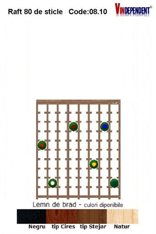 Raft din lemn cu blat pentru 80 de sticle
