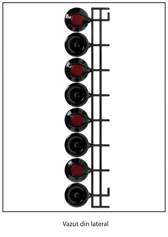Suport metalic negru pentru 8 sticle