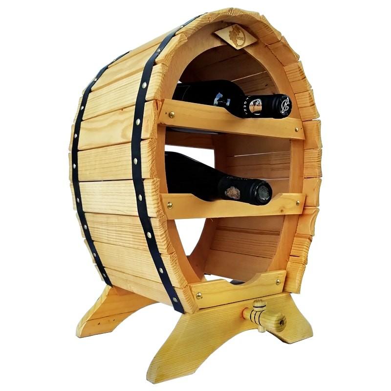 Raft Rustic natur cu robinet pentru 4 sticle vin
