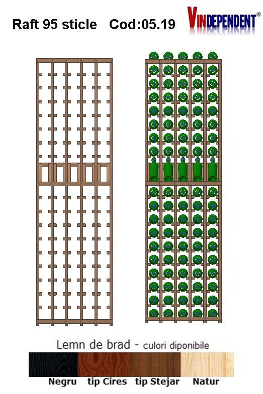 Raft din lemn tip display pentru 95 sticle