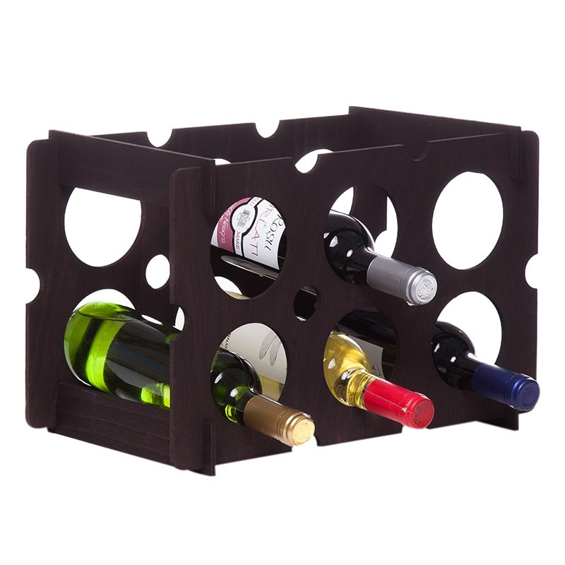 Raft Brick negru 6 sticle vin