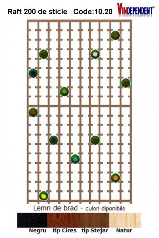 Raft din lemn pentru 200 de sticle