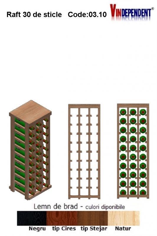 Raft din lemn cu blat pentru 30 de sticle