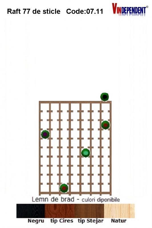 Raft din lemn pentru 77 de sticle