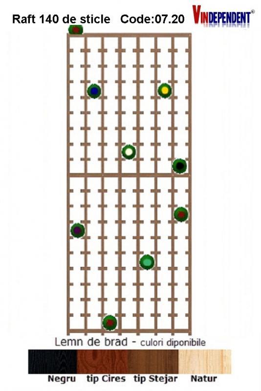 Raft din lemn pentru 140 de sticle