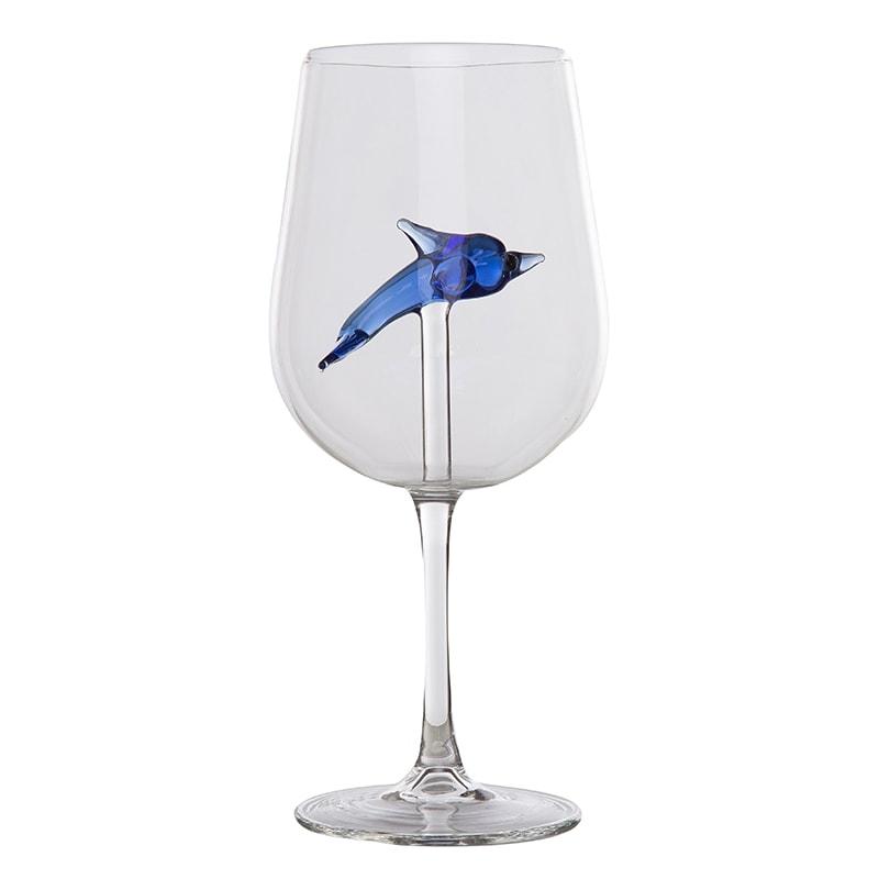 Pahar sticla cu figurina delfin