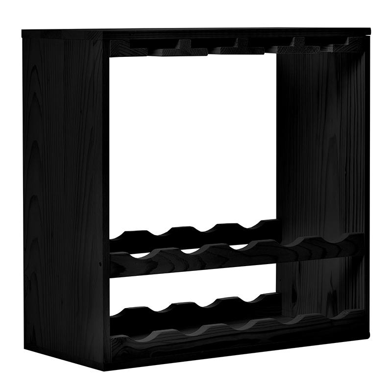 Raft CubX negru combinat 10 sticle vin