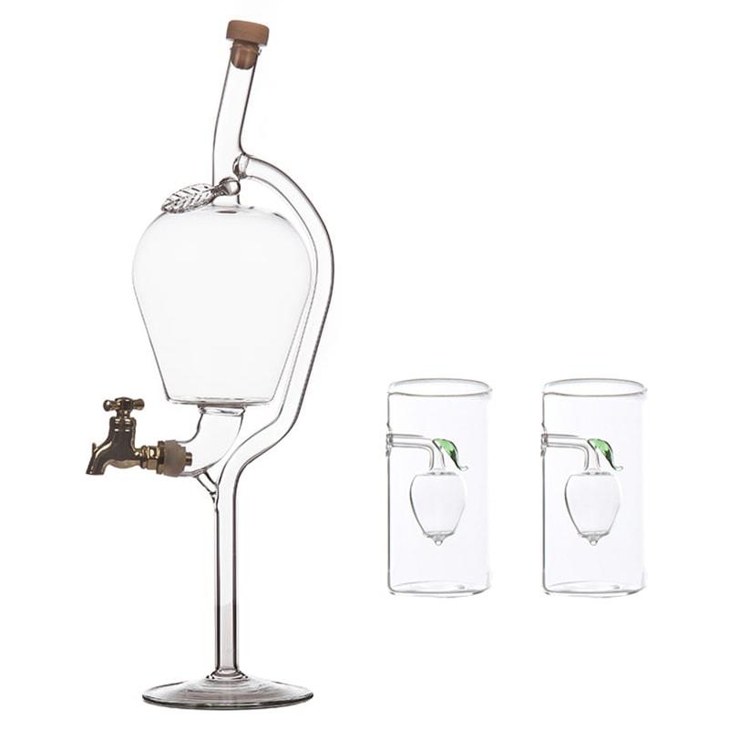Sticla mar cu robinet si 2 paharute cu mar