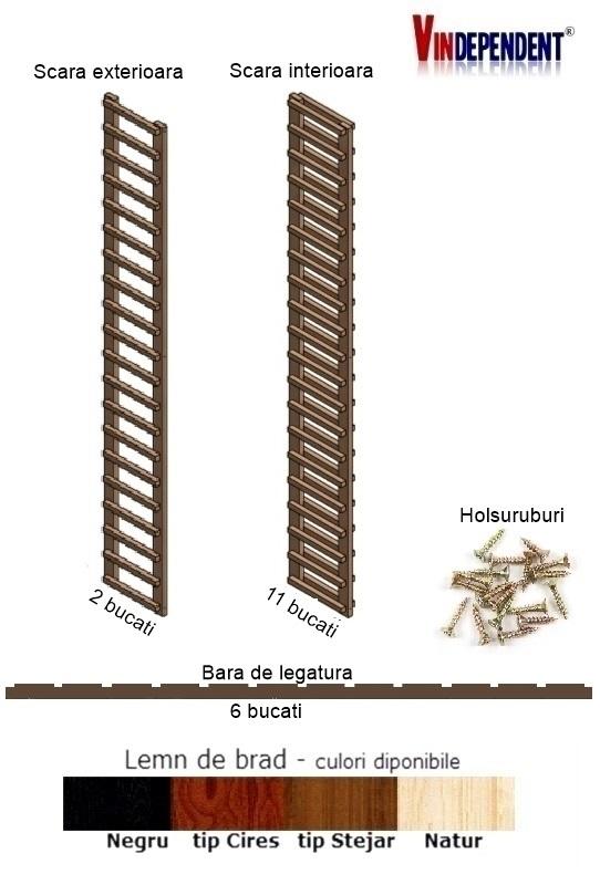 Raft din lemn pentru 240 de sticle
