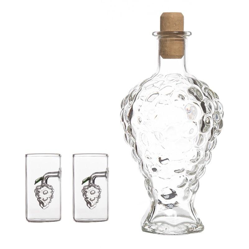 Set sticla forma strugure si 2 pahare cu strugure