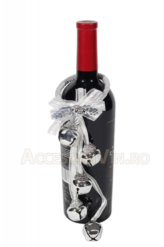 Ornament argintiu sticla vin