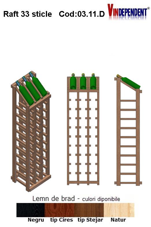 Raft din lemn tip display pentru 33 sticle