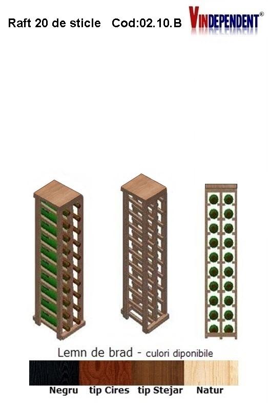 Raft din lemn cu blat pentru 20 de sticle