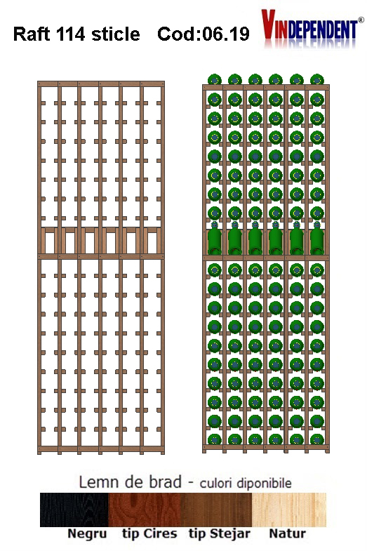 Raft din lemn tip display pentru 114 sticle