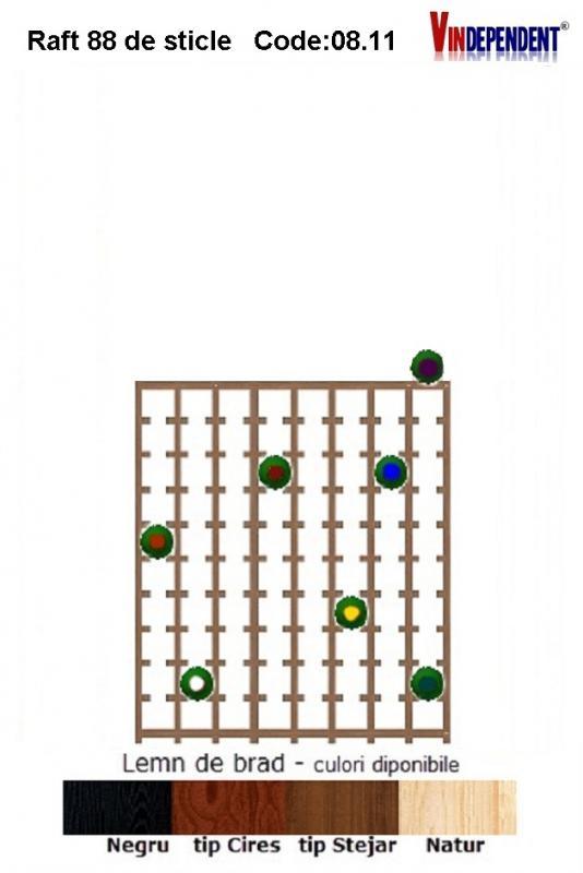 Raft din lemn pentru 88 de sticle
