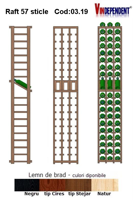 Raft din lemn tip display pentru 57 sticle
