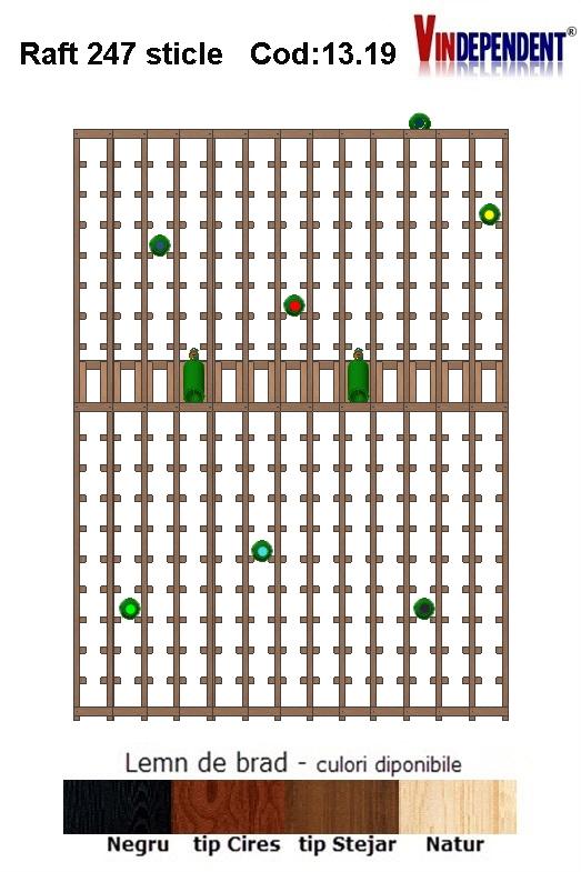 Raft din lemn tip display pentru 247 sticle