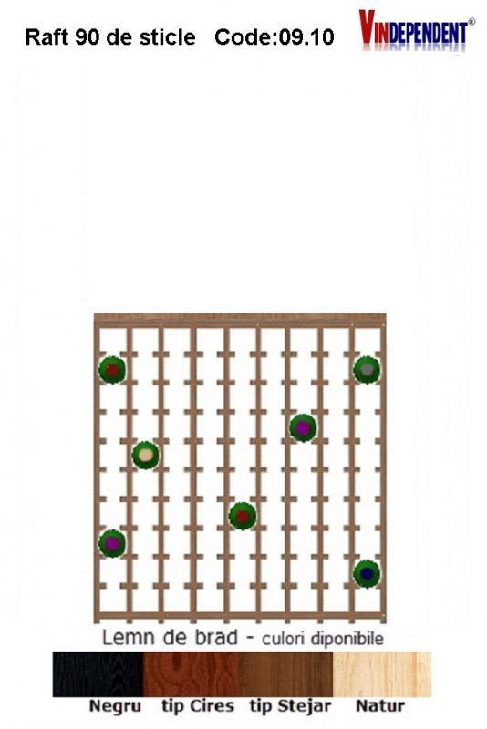 Raft din lemn cu blat pentru 90 de sticle