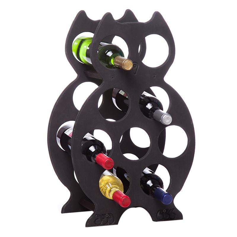 Suport negru forma bufnita pentru 9 sticle vin