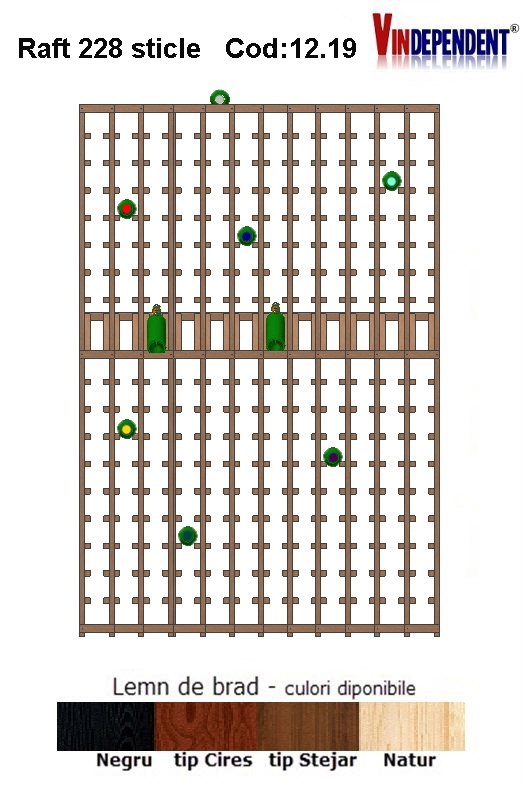 Raft din lemn tip display pentru 228 sticle