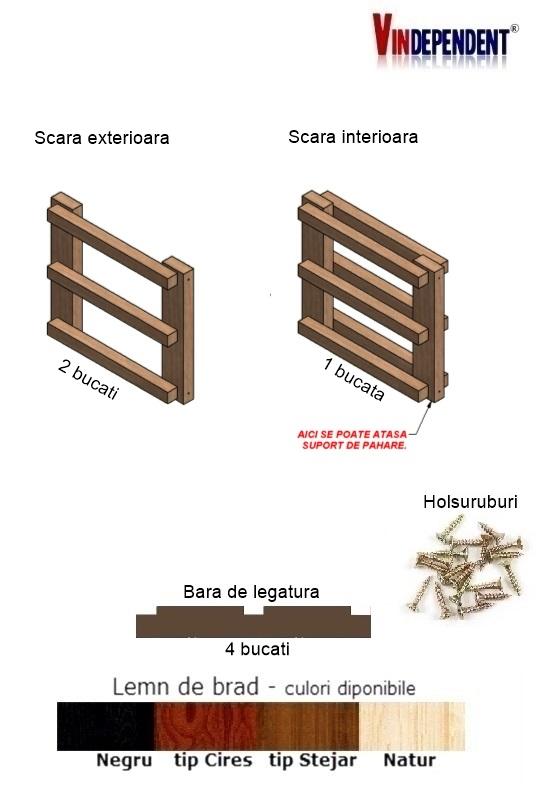 Raft din lemn pentru 6 sticle