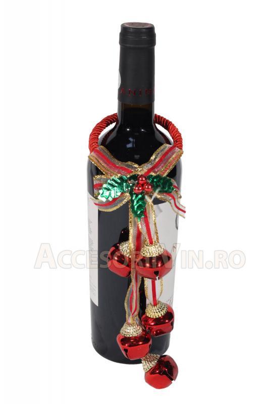 Ornament rosu sticla vin