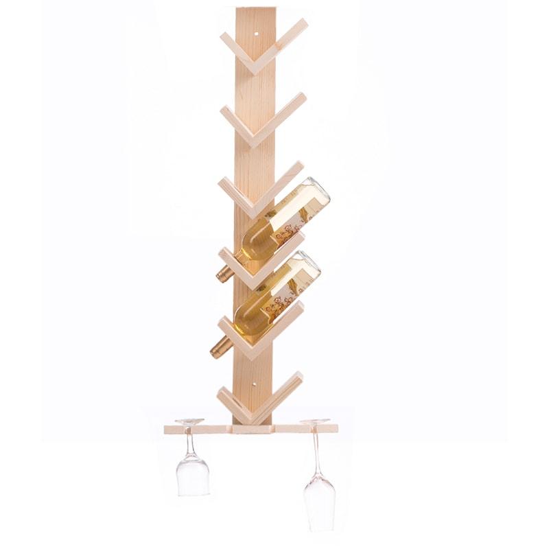 Raft lemn natur V 6 sticle vin si suport 4 pahare