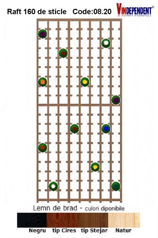 Raft din lemn pentru 160 de sticle