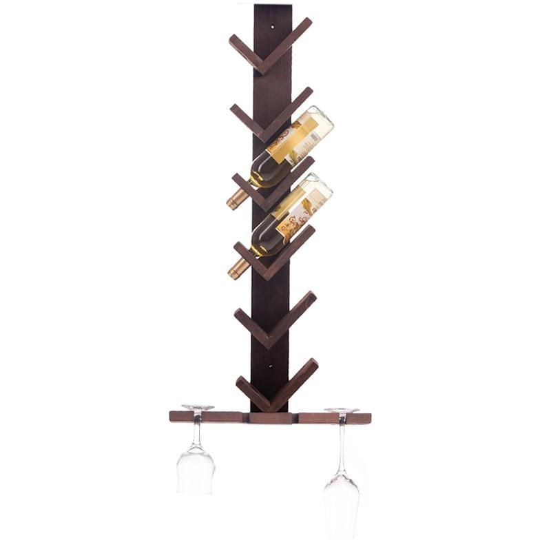 Raft lemn maro V 6 sticle vin si suport 4 pahare