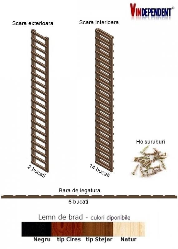 Raft din lemn pentru 300 de sticle