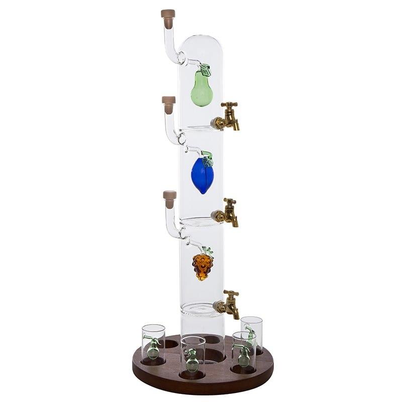 Sticla-bar 3 nivele si 6 pahare