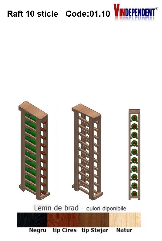 Raft din lemn cu blat pentru 10 sticle