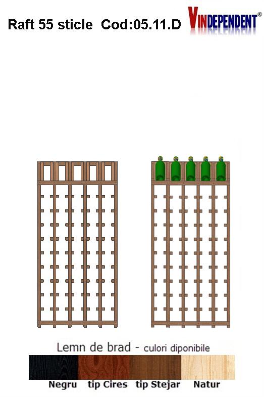 Raft din lemn tip display pentru 55 sticle