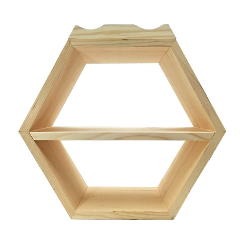 Raft hexagonal cu polita si suport exterior sticle