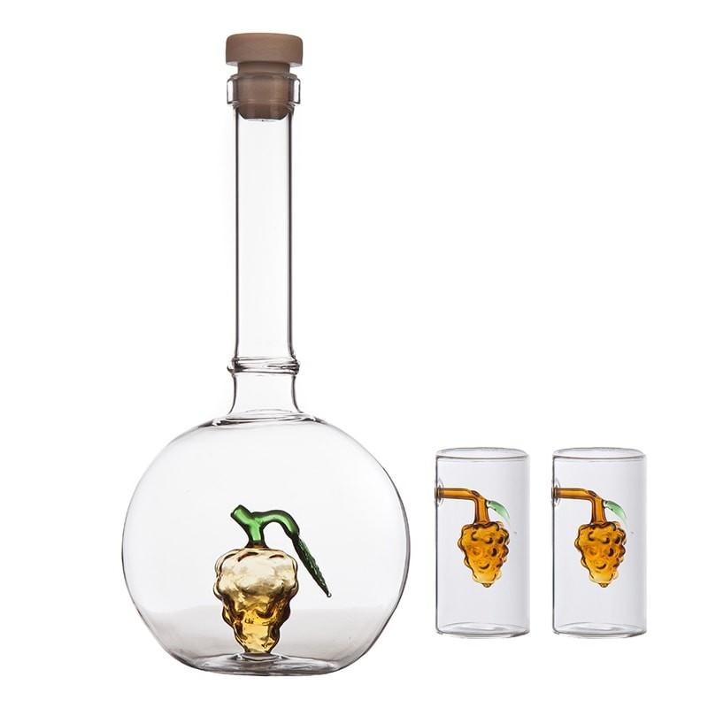 Set sticla balon cu strugure si 2 pahare