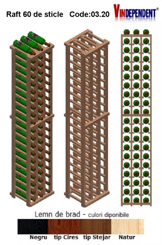 Raft din lemn pentru 60 de sticle