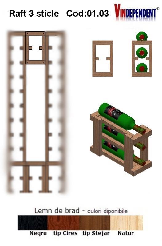Raft din lemn pentru 3 sticle