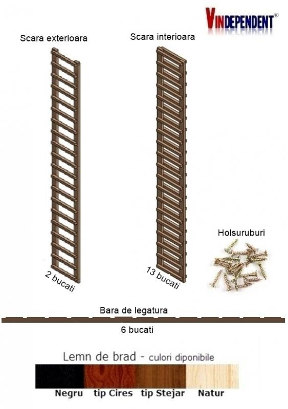 Raft din lemn pentru 280 sticle