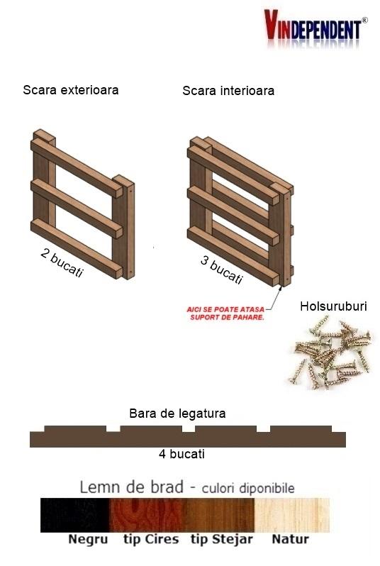 Raft din lemn pentru 12 sticle