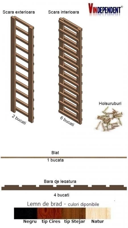Raft din lemn cu blat pentru 70 de sticle