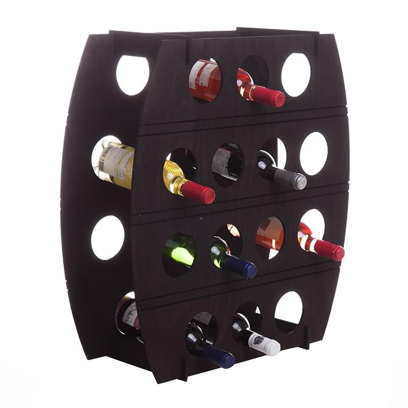 Raft negru tip butoi pentru 14 sticle
