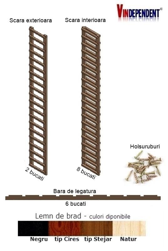 Raft din lemn pentru 180 de sticle