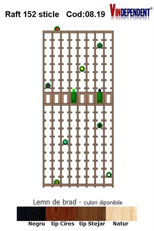 Raft din lemn tip display pentru 152 sticle