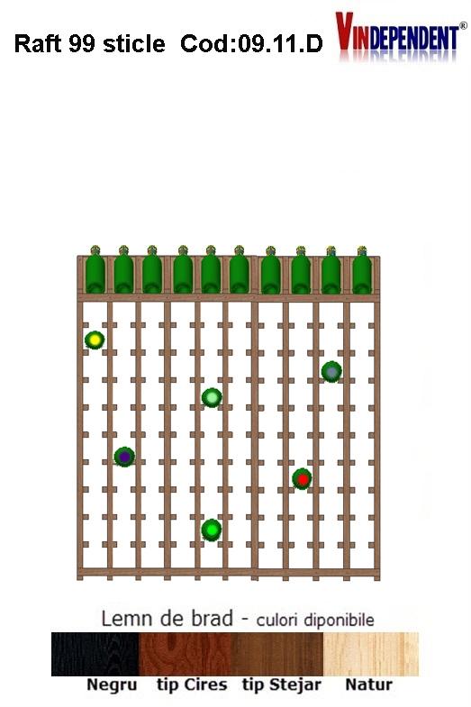 Raft din lemn tip display pentru 110 sticle