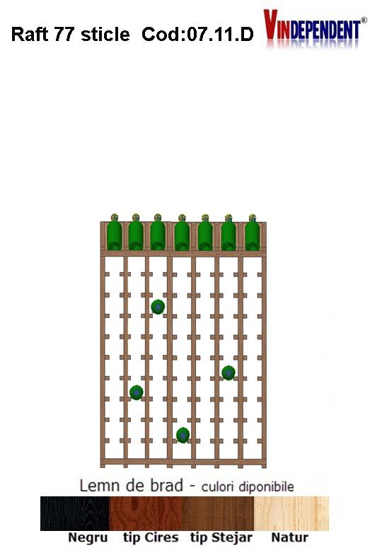 Raft din lemn tip display pentru 77 sticle