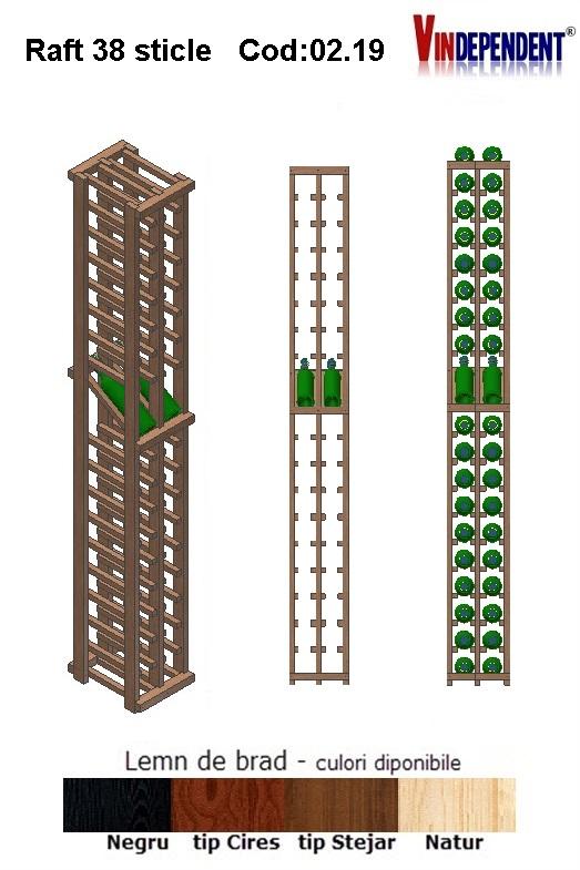 Raft din lemn tip display pentru 38 sticle
