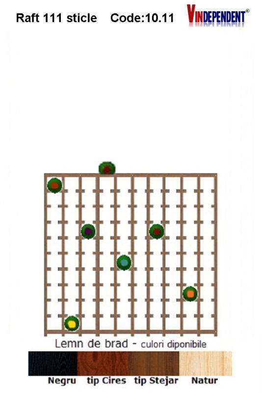 Raft din lemn pentru 110 sticle