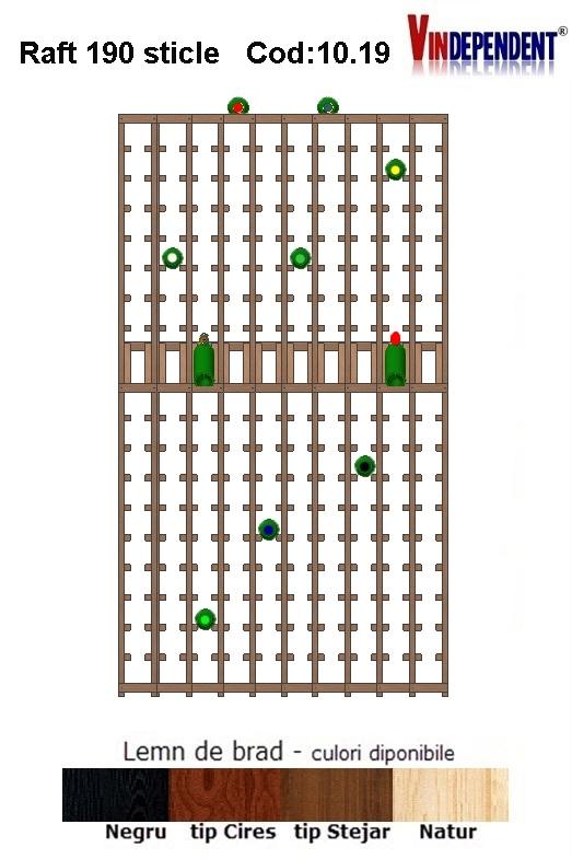 Raft din lemn tip display pentru 190 sticle